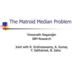 The Matroid Median Problem
