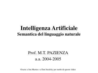 Intelligenza Artificiale  Semantica del linguaggio naturale