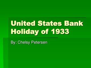 United States Bank Holiday of 1933