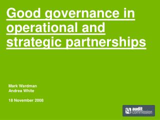 Good governance in operational and strategic partnerships