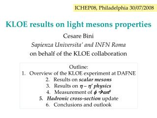 KLOE results on light mesons properties