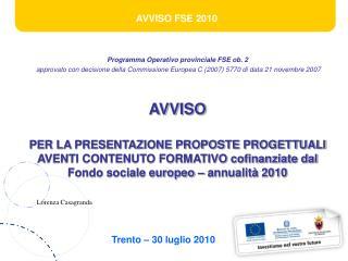 Programma Operativo provinciale FSE ob. 2