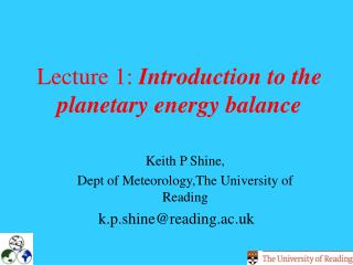 Lecture 1:  Introduction to the planetary energy balance