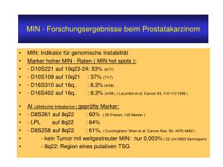 MIN - Forschungsergebnisse beim Prostatakarzinom