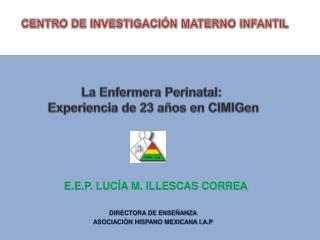 DIRECTORA DE ENSEÑANZA ASOCIACIÓN HISPANO MEXICANA I.A.P
