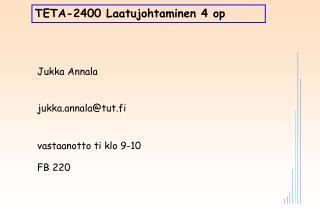 TETA-2400 Laatujohtaminen 4 op