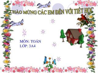 MÔN: TOÁN LỚP: 3A4