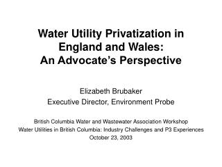 Water Utility Privatization in  England and Wales:  An Advocate�s Perspective