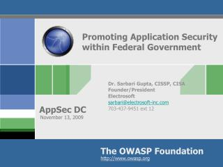 Promoting Application Security within Federal Government