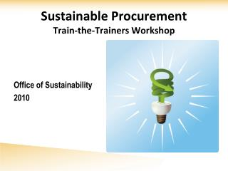 Sustainable Procurement Train-the-Trainers Workshop