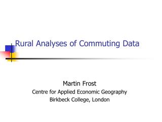 Rural Analyses of Commuting Data