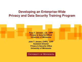 Developing an Enterprise-Wide  Privacy and Data Security Training Program