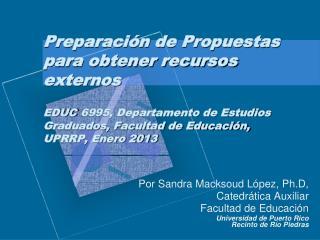 Por Sandra Macksoud López, Ph.D, Catedrática Auxiliar  Facultad de Educación
