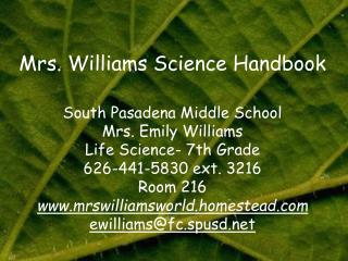 Mrs. Williams Science Handbook