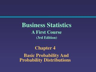 Chapter 4   Basic Probability And Probability Distributions