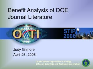 Benefit Analysis of DOE Journal Literature