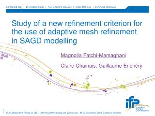 Study of a new refinement criterion for the use of adaptive mesh refinement in SAGD modelling