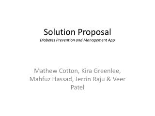 Solution Proposal Diabetes Prevention and Management App