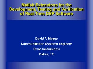 Matlab Extensions for the Development