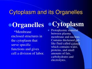 Cytoplasm and its Organelles