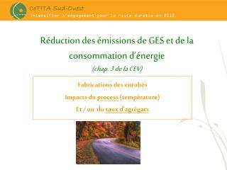 Réduction des émissions de GES et de la consommation d'énergie (chap. 3 de la CEV)