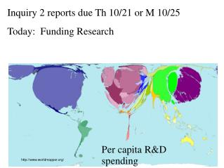 Inquiry 2 reports due Th 10/21 or M 10/25 Today:  Funding Research