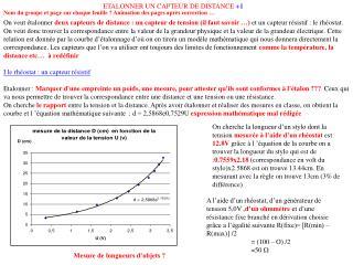 ETALONNER UN CAPTEUR DE DISTANCE  +1