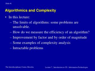 Algorithmics and Complexity