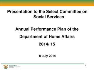 Presentation to the Select Committee on Social Services