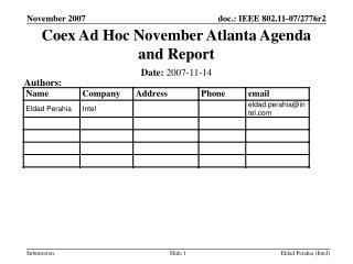 Coex Ad Hoc November Atlanta Agenda and Report