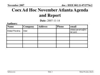 Coex Ad Hoc November Atlanta Agenda and Report