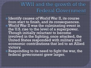 WWII and the growth of the Federal Government