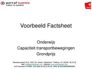 Voorbeeld Factsheet