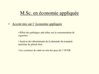 M.Sc. en économie appliquée