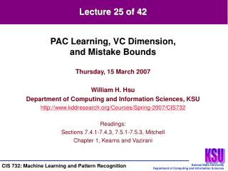 Thursday, 15 March 2007 William H. Hsu Department of Computing and Information Sciences, KSU