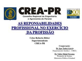 AS REPONSABILIDADES  PROFISSIONAL NO EXERCÍCIO  DA PROFISSÃO Celso Roberto Ritter Superintendente