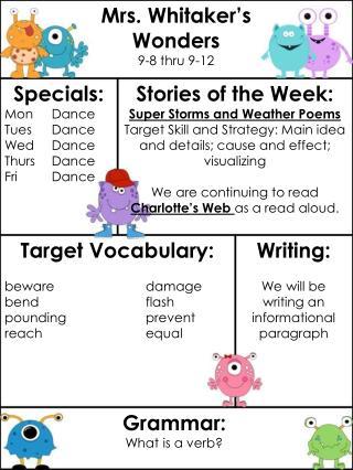 Mrs. Whitaker's Wonders 9-8 thru 9-12