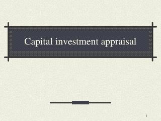 Capital investment appraisal