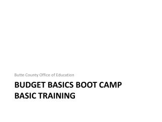 Budget Basics Boot Camp Basic Training