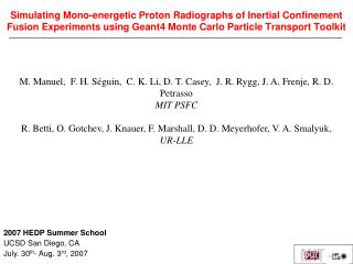 Simulating Mono-energetic Proton Radiographs of Inertial Confinement Fusion Experiments using Geant4 Monte Carlo Particl