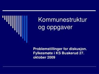 Kommunestruktur og oppgaver