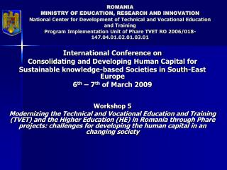 International Conference on Consolid ating and Developing Human Capital for