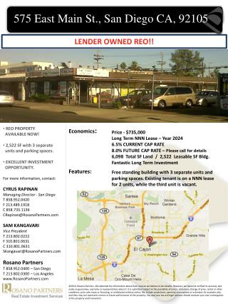 Price - $735,000 Long Term NNN Lease – Year 2024 6.5% CURRENT CAP RATE