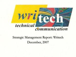 Strategic Management Report: Writech December, 2007