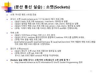 (분산 통신 실습)  :  소켓( Sockets)