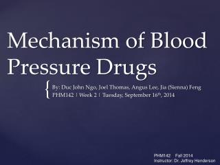 Mechanism of Blood Pressure Drugs