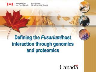 Defining the  Fusarium /host interaction through genomics and proteomics