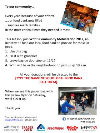 To our community… Every year, because of your efforts …our food bank gets filled