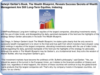 Selwyn Gerber's Book, The Wealth Blueprint, Reveals Success