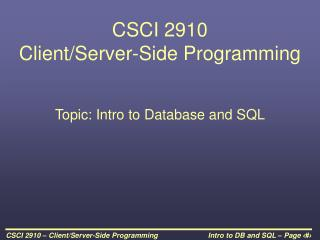 CSCI 2910  Client/Server-Side Programming